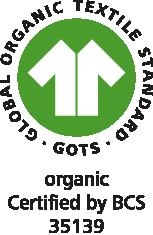 Mit diesem Siegel kennzeichnen wir GOTS-zertifizierte Baumwolltaschen aus Biobaumwolle.