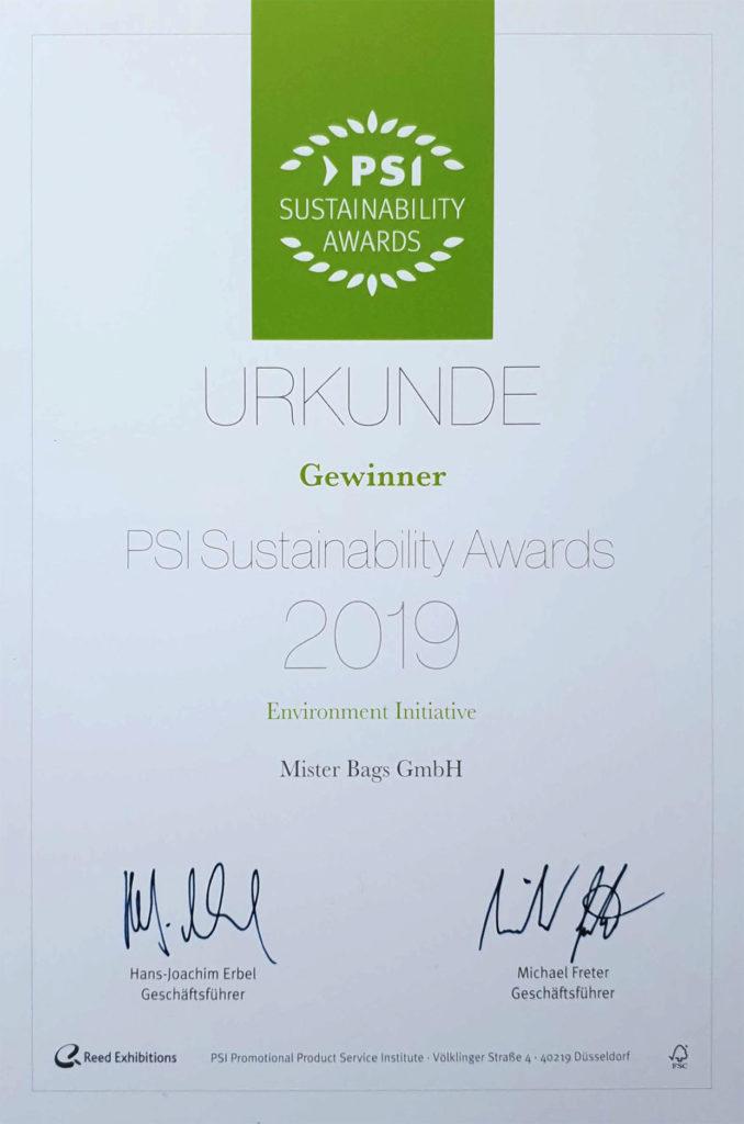 Mister Bags gewinnt den PSI Sustainability Award für besondere Nachhalitgkeit