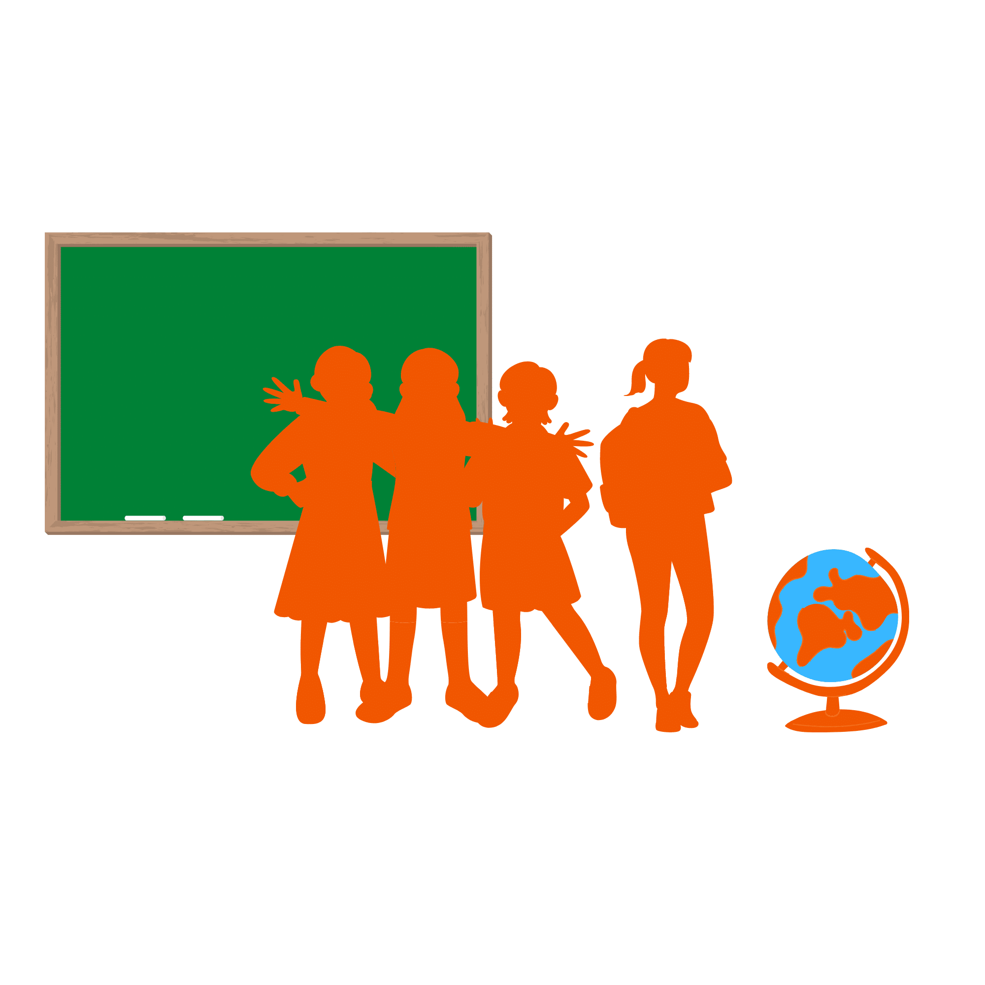 vier Schulkinder stehen vor einer Tafel