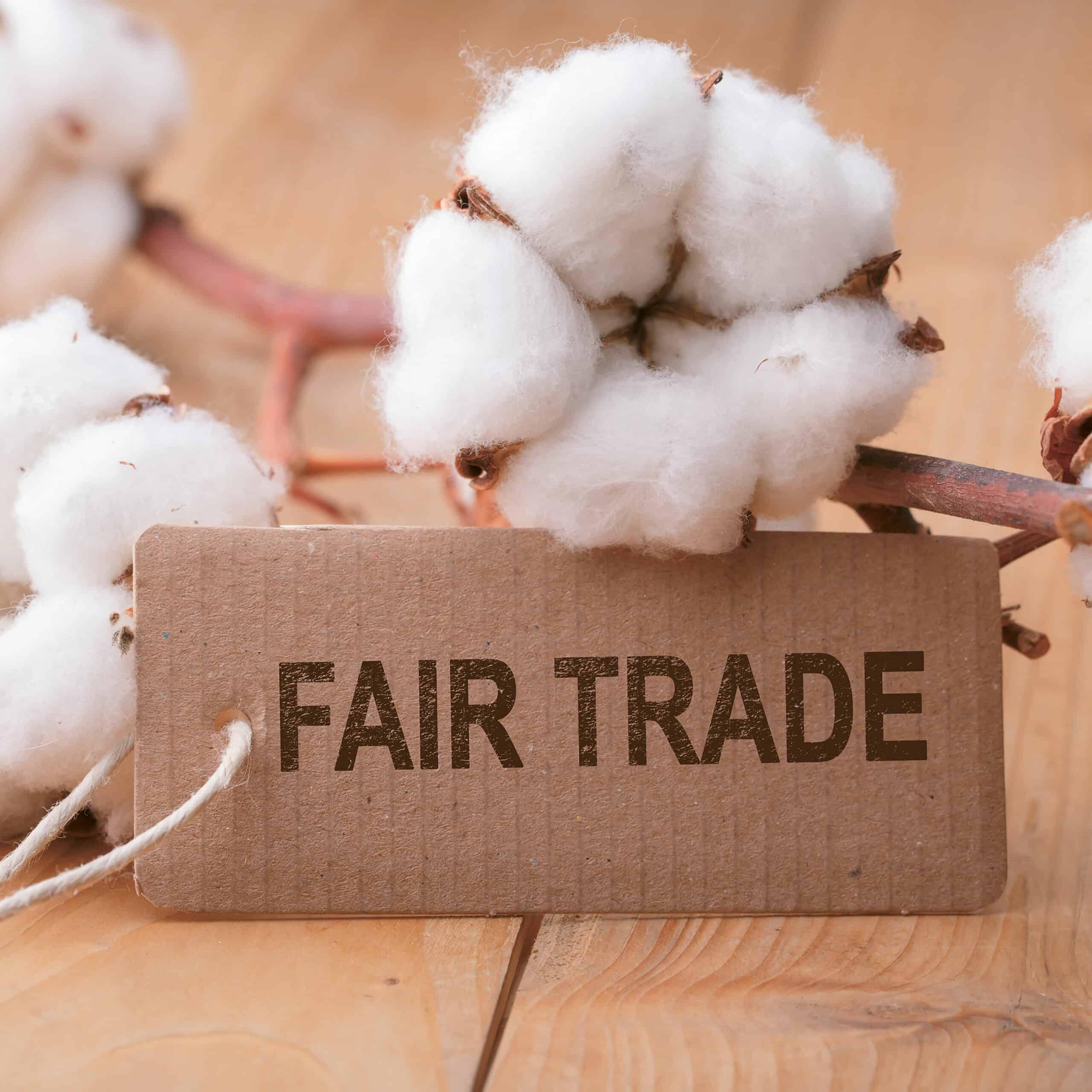 Baumwollast mit Fairtrade Kärtchen im Vordergrund
